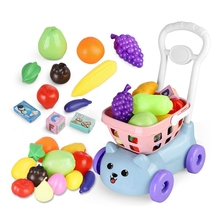 Kids Toys Simulation-Grocery Supermarket Hand-Shopping-Cart Pretend Play Children Kitchen