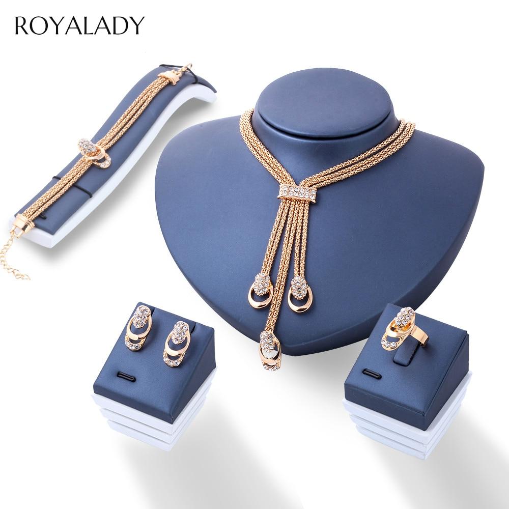 Fashion Rose Gold Crystal Jewelry Set Women Bridal Necklace Earring Bracelet Ring Rhinestone Wedding Engagement Party Jewelry