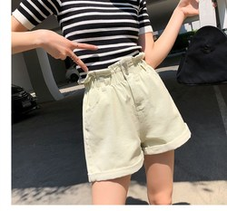 Nice Summer Women Solid Pockets Button Flare Loose Jeans Shorts Vintage Elastic High Waist Denim Shorts
