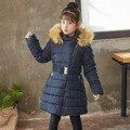 Зимнее пальто для девочек  детская плотная парка с капюшоном и меховым воротником  теплая одежда  куртки с хлопковой подкладкой для девочек ...