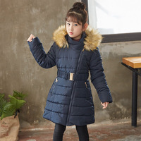 Mädchen Winter Mantel 2019 Kinder Dicken Parka mantel Mit Kapuze Pelz Kragen Warme Kleidung Kinder Baumwolle Gepolsterte Jacken Für Mädchen 6-12 jahre