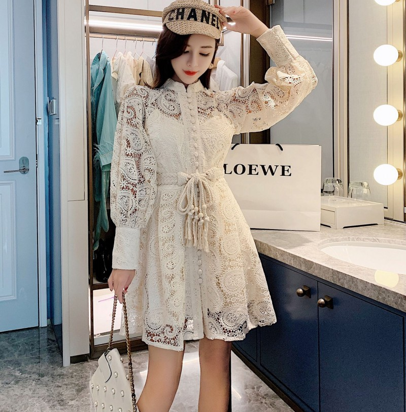 2019 Autumn  Designer Embroidery Floral Lace Hollow Out Dress Women's Puff Sleeve Tassel Lace-Up Solid Color Dress