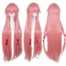 Anogol Anime Toekomst Dagboek Gasai Yuno Mirai Nikki Lange Roze Rechte Synthetische Cosplay Pruik Voor Halloween Party Kostuum Voor Meisjes