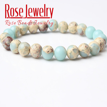 Natural ShouShan Stone Beads Bracelet 8mm Vogue Jewelry Sky blue stone beads Charms Yoga Women Bracelets