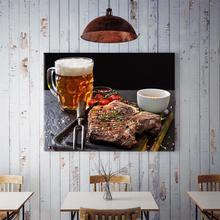 60x40cm Grilled Steak Spell Beer Wall Painting Home Decoration Canvas Kitchen Dining Room Wall Decor