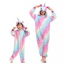 フランネル動物家族マッチングパジャマ衣装冬フード付きペガサスユニコーンパンダパジャマカバーオール母子供パジャマ