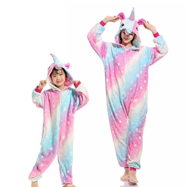 Flannel สัตว์ครอบครัวชุดนอนชุดฤดูหนาว Hooded Pegasus Unicorn PANDA ชุดนอน Onesie แม่ชุดนอนเด็ก