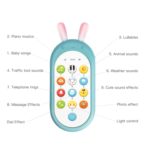 Beiens Baby Phone Toy Mobile Phone for Kids Telephone Toy Enfant Early Educational Mobile Toy Chinese/English Learning Machine Karachi