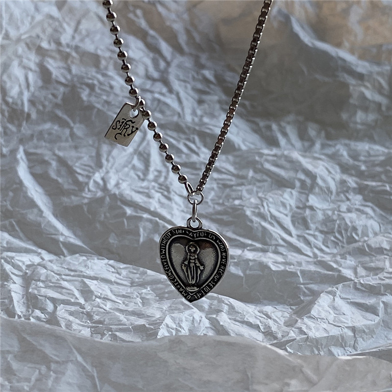 H468435f6e8744cd2abb45bb3eb47e608b - POFUNUO 925 Sterling Silver Women Original Design Vintage Do Old Virgin Mary Pendant Necklace Chic Heart Charm Distress Necklace