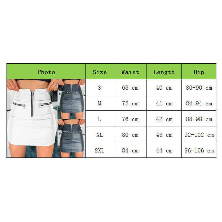 Wanita PU Kulit Ritsleting Rok Pensil Pinggang Tinggi Malam Pesta Club Memakai Bodycon Pendek Rok Mini