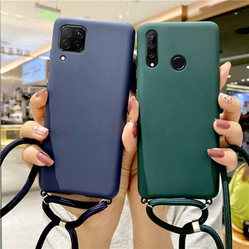 candy color silicone strap lanyards case on for huawei p40 p30 lite pro E 5g p20 p10 p8 lite 2017 so