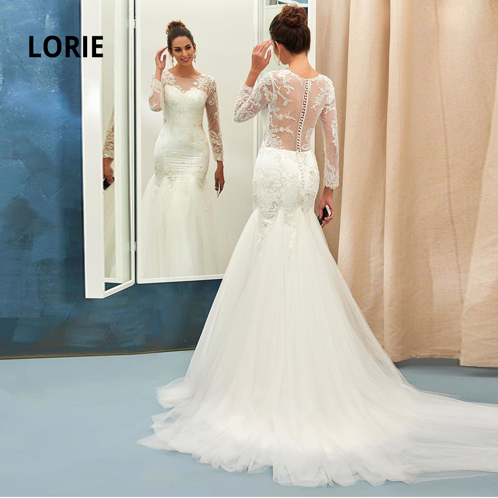 LORIE 2020 Long Sleeve Lace Wedding Dresses Mermaid Button Back Beach Bridal Gowns Charming Illusion Party Dresses Court Train
