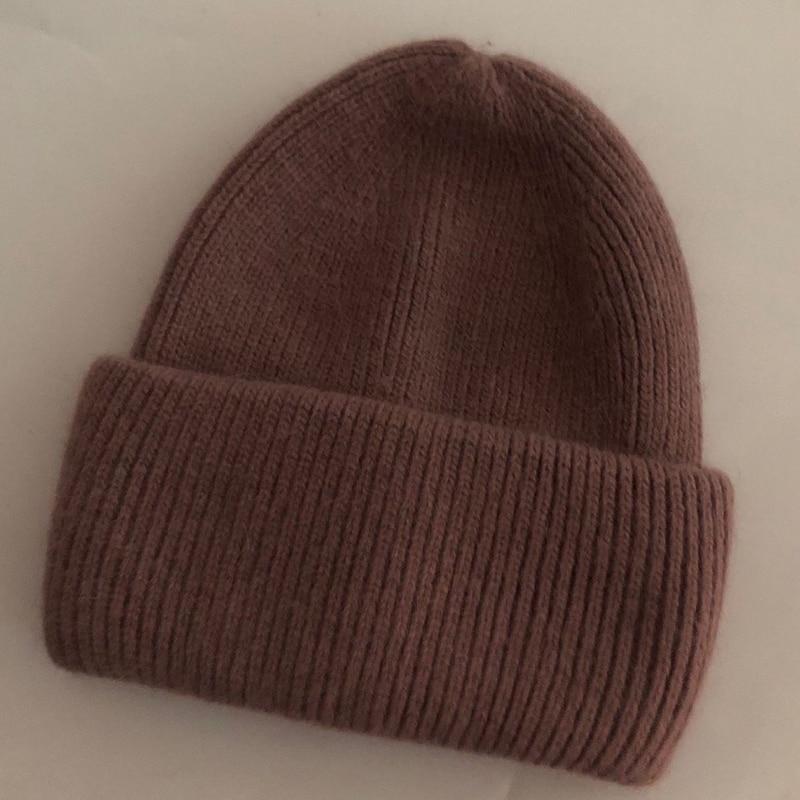 Купить повседневные новые зимние шапки одноцветные шерстяные теплые