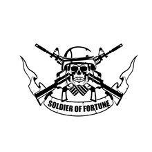 DAWASAKA  Soldier of Fortune Skull Warrior Fashion Funny Car Sticker Decal Black/Silver Covering The Body Vinyl Custom 15CM*10CM skull sward shape chrome car body sticker silver black red