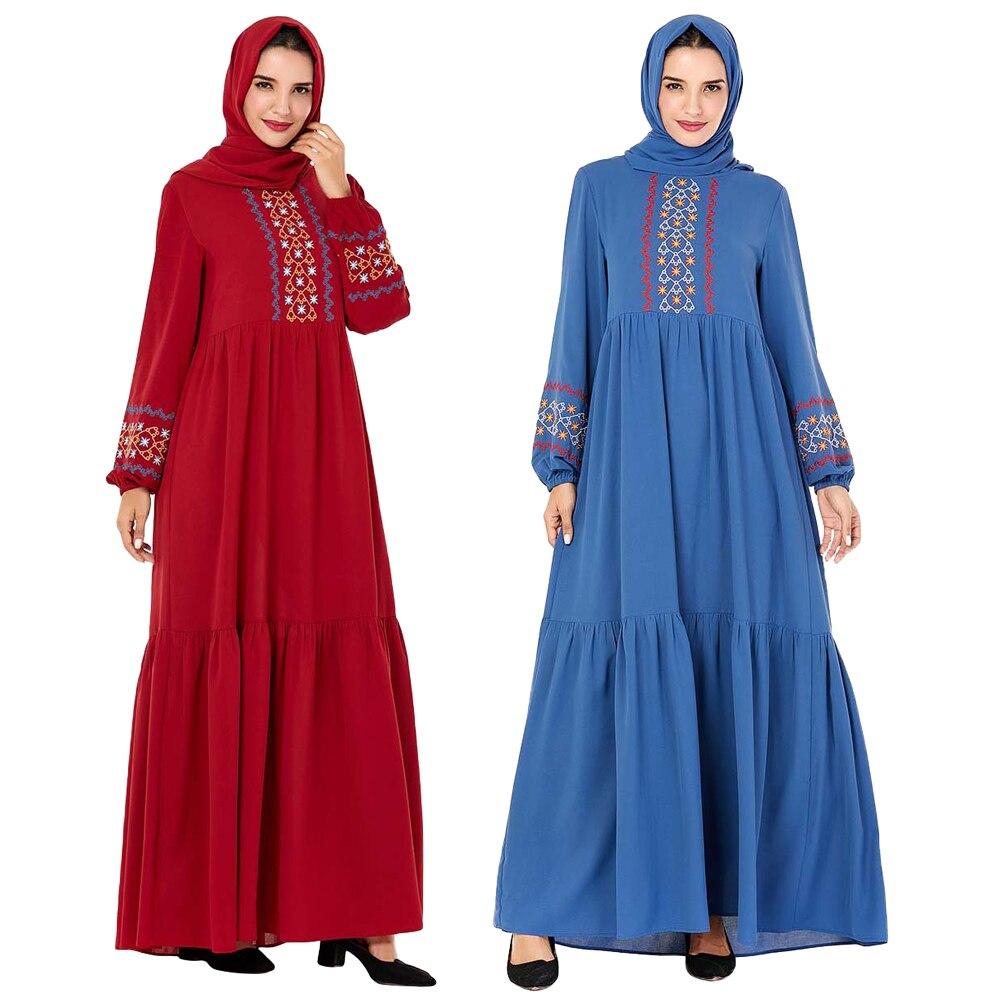 2019 Muslim Women Abaya Embroidery Long Sleeve Dress Pleated Kaftan Jilbab Robe Gown Islamic Arab Autumn Dress Casual Turkish