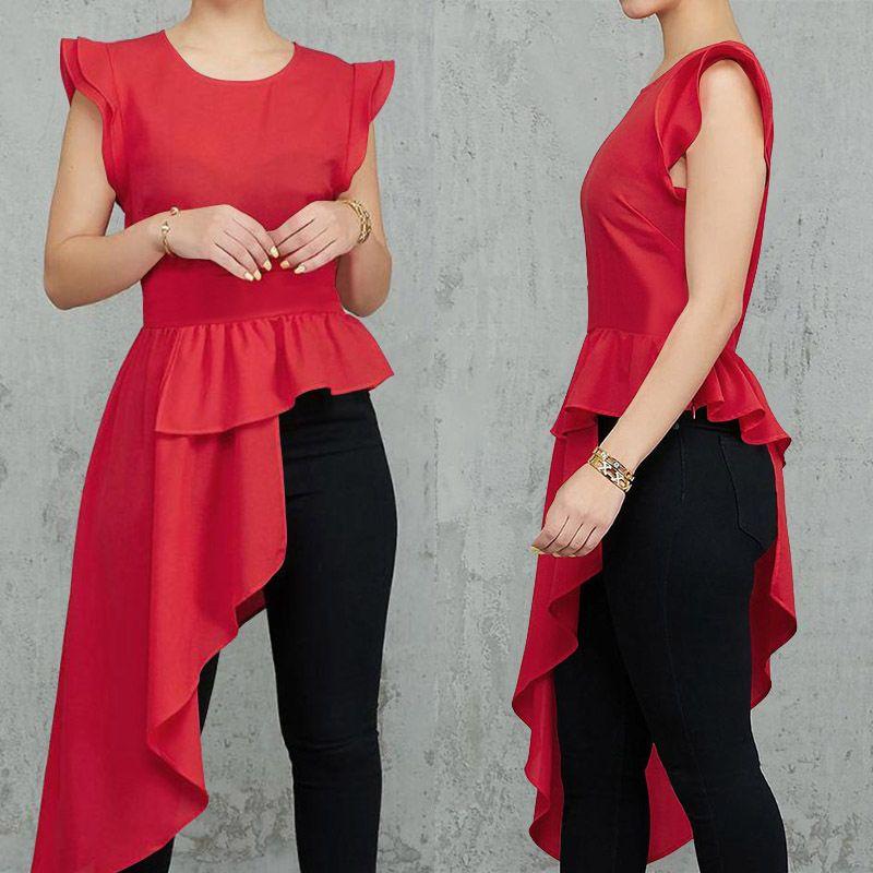 Plus Size Summer Tunic Tops Celmia 2020 Fashion Women Blouse Short Sleeve Asymmetrical Office Shirts Casual Long Blusas Feminina