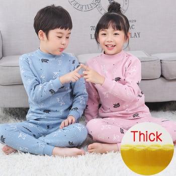 Children's warm underwear Thick  set thickened Winter Collar Cotton boy girl cotton baby pajamas three layers  Middle collar