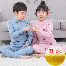 Childrens warm underwear Thick  set thickened Winter Collar Cotton boy girl cotton baby pajamas three layers  Middle collar