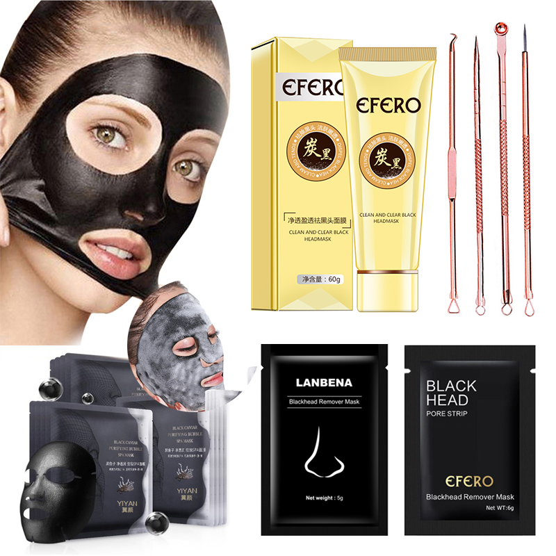 Blackhead Face Mask Acne Needles Pimples Pore Cleaner Black Head Remover Peel Off Mask Charcoal Black Masks for Face Skin Care(China)