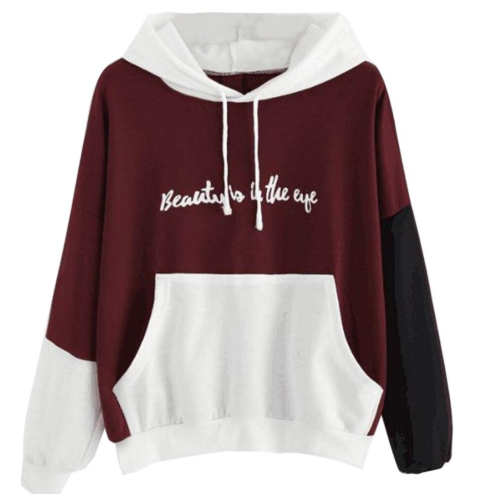 OEAK Fashion Print letter Hoodies Women Long Sleeve Sweatshirt Women Pullover Ladies Girl Contrast Color Top Women Clothes