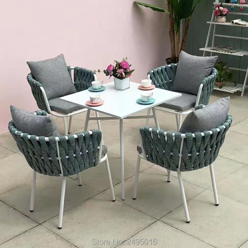5-piece Patio Woven Rope Furniture Dining Set Garden Table And Chairs With Cushions For Poolside Backyards All Weather