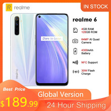 Realme 6 6.5 ''Globale Version 4GB 128GB 90Hz Display Helio G90T 30W Blitz Charge 4300mAh 64MP Kamera 4G NFC Handy