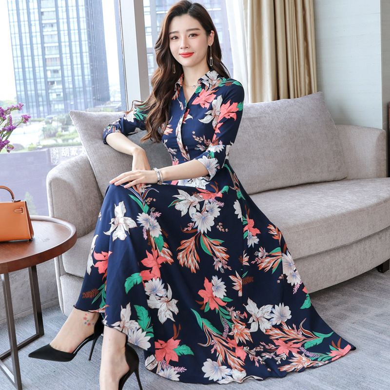 Printed Chiffon Dress 2019 Spring Clothing New Style WOMEN'S Dress Slimming Floral Skirt Long Skirts