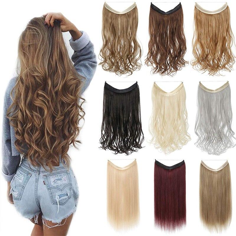 Extensões de cabelo de halo de onda shangzi nenhum grampo em ombre loira bayalage sintético natural escondido segredo fio coroa cabelo peça feminina