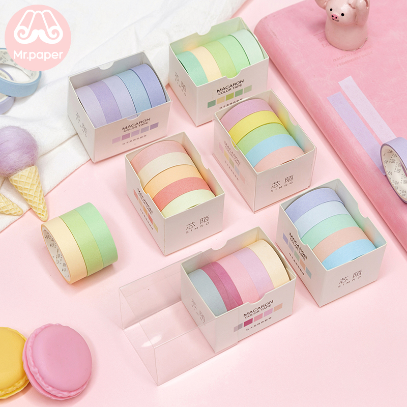 Mr Paper 15 Designs 5pcs/box 10mmx3m Macaron Solid Colorful Cut-off Rule Line Washi Tapes Scrapbooking Deco Masking Tapes
