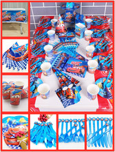 82pcs/set Disney Cars Lightning Mcqueen Party Supplies Tableware Plate Cup Tablecloth Napkin Birthday Decoration For Kids