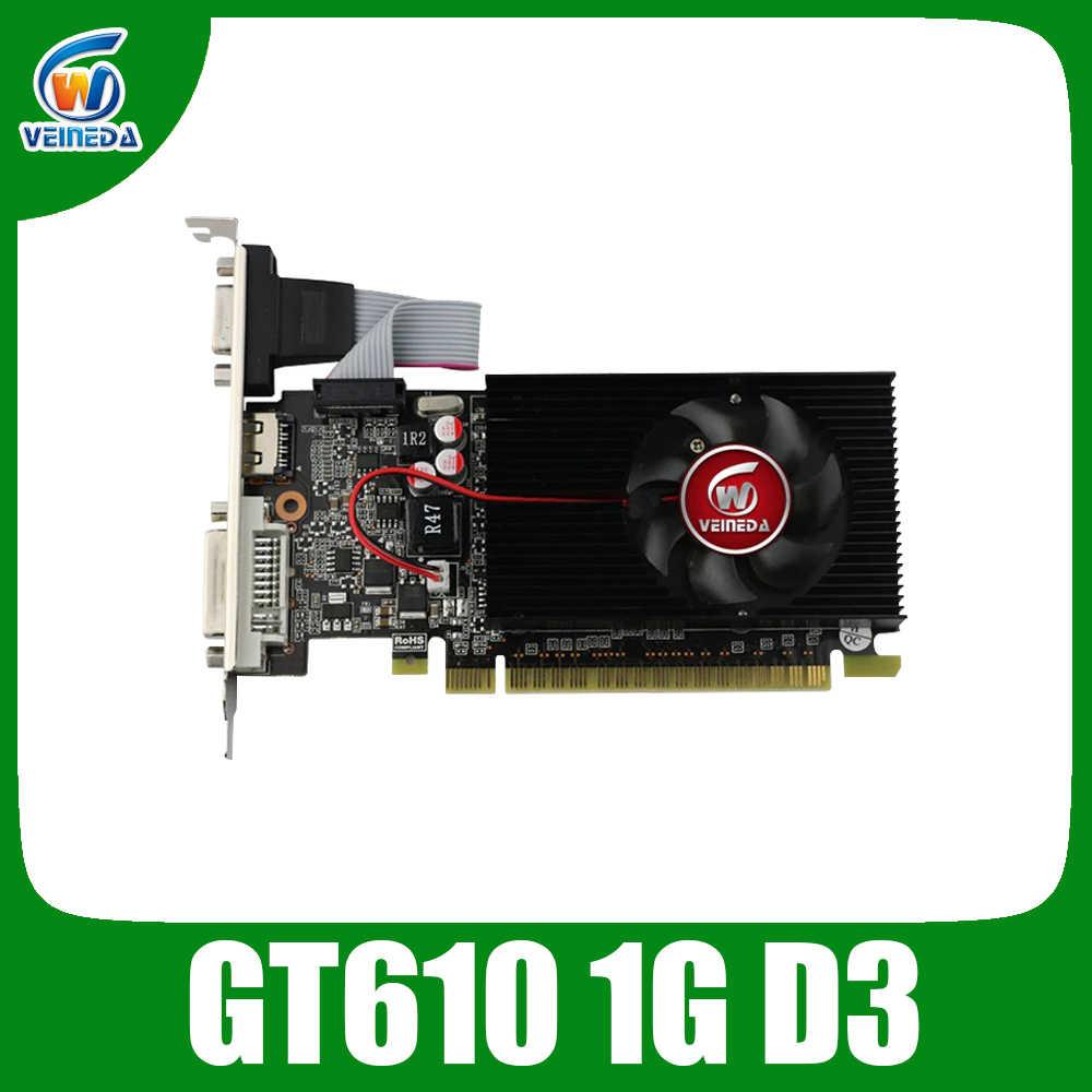 VEINIDA بطاقة جرافيكس GT610 1GB الانظار غيفورسي شرائح الفيديو DDR3 ل العادي PC و LP حالة أقوى من HD6450