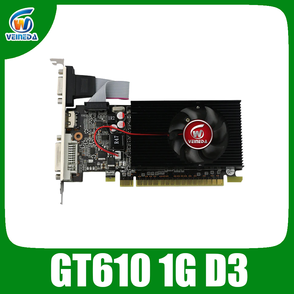 VEINIDA graphics card GT610 1GB Low Profile Geforce Chipset video DDR3 for normal PC and LP case Stronger Than HD6450 image