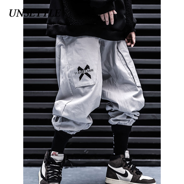 UNSETTLE Men's Multi-pocket Military Cargo Harem Pants 2019 Hip Hop Casual Male Tatical Joggers Trousers Casual Streetwear Pants