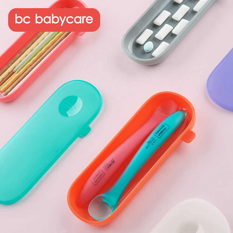 BC Babycare Portable Babies Tableware Storage Box Travel Babies Infants Toddlers Spoon Fork Storage Case PP Storage Container