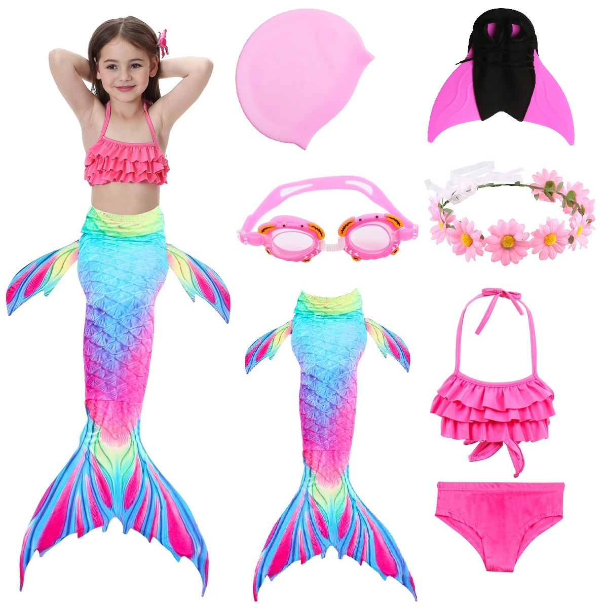 Kids Mermaid Swimsuit Bikini Girls Mermaid Tail with Finned Swimsuit Child's Wear Split Swimsuit Mermaid Tail Clothing Swimwear-in Girls Costumes from Novelty & Special Use