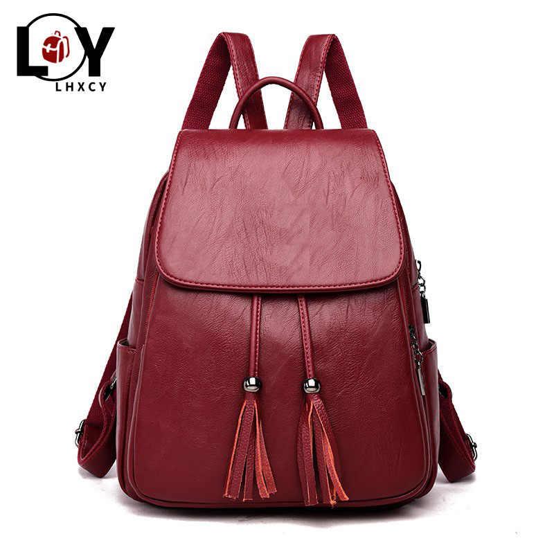 Yeni püskül kaliteli Pu deri sırt çantası kadın İpli çanta siyah kırmızı yumuşak katı sırt çantası kadın gençlik sırt çantası genç kızlar için