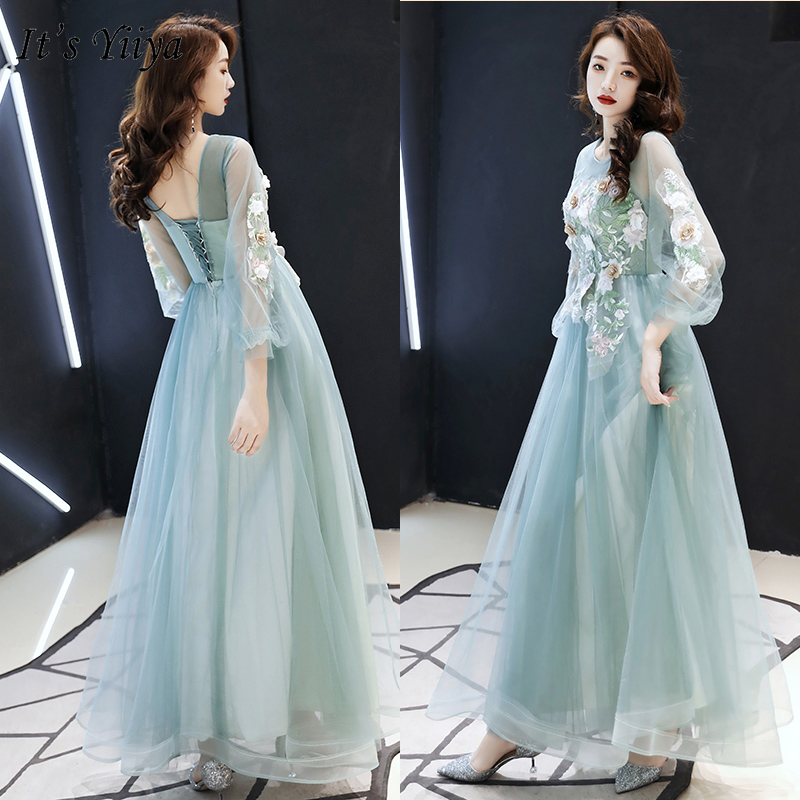 It's Yiiya Formal Dress O-Neck Three Quarter Sleeve Robe De Soiree LF159 Illusion Appliques Plus Size Dress Woman Party