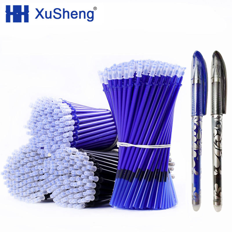 2+50Pcs/Set  0.5mm Blue Black Ink Gel Pen Erasable Refill Rod Erasable Pen Washable Handle School Writing Stationery
