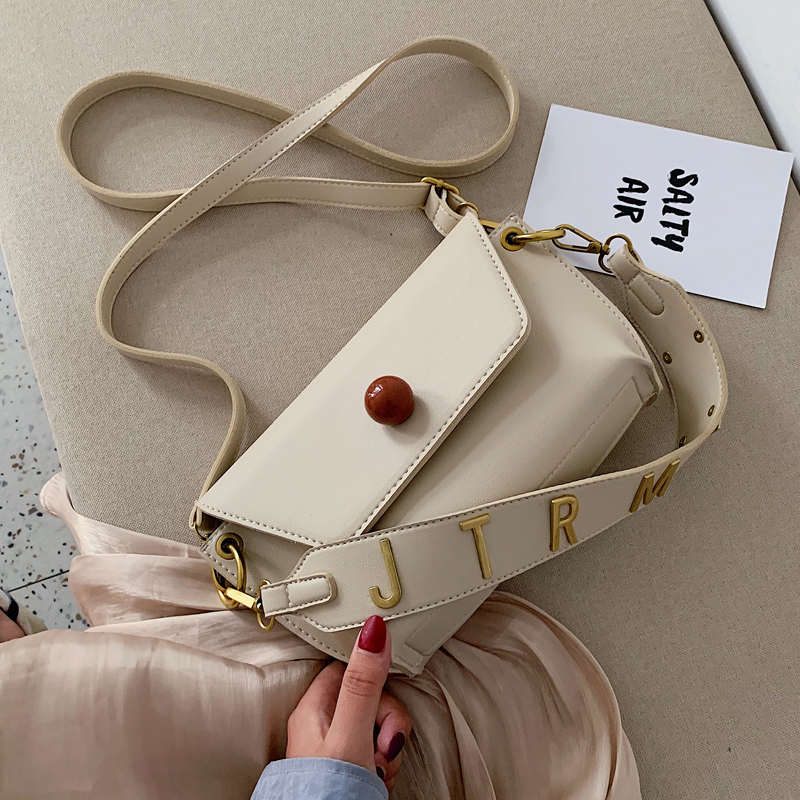 Solid Color PU Leather Crossbody Bags For Women 2019 With Letter Strap Lady Shoulder Messenger Bag Female Handbags And Purse