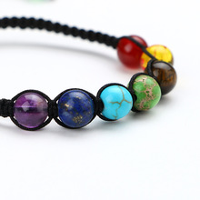 High Quality Natural Stone Beads Bracelets Lucky Charm Rainbow 7 Jewelry AgateBracelet Hand Chain for Women Men