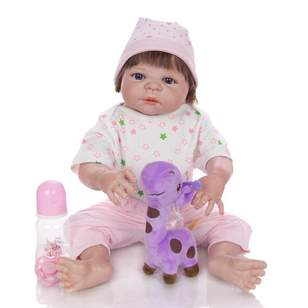 56cm 1.7kg Silicone Reborn Baby Dolls Lifelike vinyl Body Girl bath Toys Hand painted skin Simulation doll 3 Years Old Kids gift