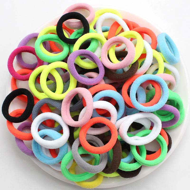 50pc/lot Kids Candy Color Hair Rope Elastic Scrunchie Hair Bands Mini Hair Rings Rubber Band For Girls Princess Hair Accessories