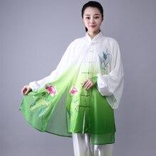Мода Тай Чи униформа для женщин и мужчин Единоборства Униформа Китайская традиционная народная с длинным рукавом кунг-фу костюм утренняя спортивная одежда