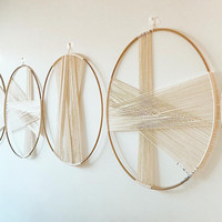 Creative Round Wall Decoration Macrame Wall Hanging Nordic Simple Gold Hoop Cotton Woven Tapestry Hanging Ornaments Mandala