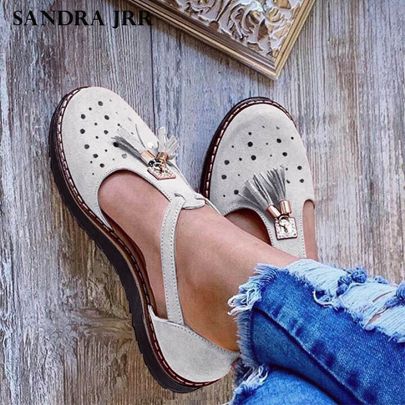 SANDRA JRR 2020 Spring Summer Shoes T Buckle Casual Sandals Women Flat Platform Shoes Plus Size Fringe Tassel Daily Shoes Flats