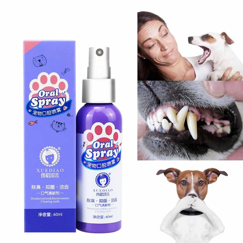 Tratamento oral antibacteriano do pulverizador do refrogerador da boca do animal de estimação 60ml respiração fresca cão e gato cuidados dentários saudáveis frescos|Removedor de cheiro e manchas de cães|   - AliExpress