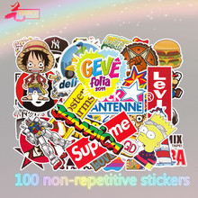Best-selling 100 cartoon graffiti stickers for non-repetitive pull-rod boxes of automobiles and motorcycles
