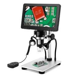 Цифровой микроскоп с ЖК-экраном 7 дюймов HD USB микроскоп с проводным дистанционным управлением увеличение 1200X ручной микроскоп с видеорегист...