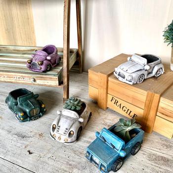 Car cement flower pot, garden cement flower pot, succulent bonsai plant, indoor flower pot, office table flower pot decoration cement garden