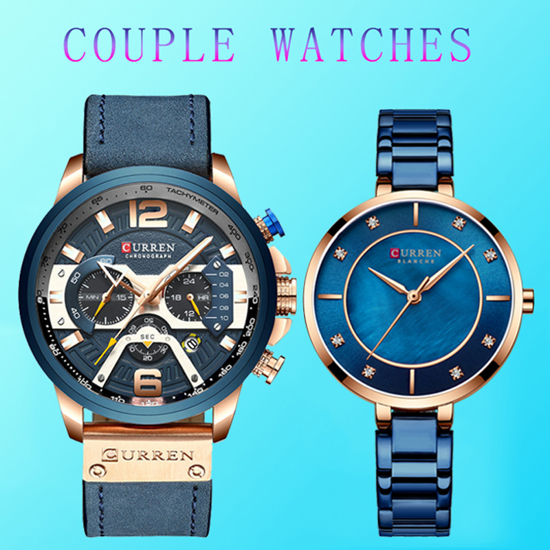 Couple Watch Man And Woman Curren Stainless Steel Waterproof Lover's Watches Blue Couple Watches For Lovers Relojes Hombre 2019